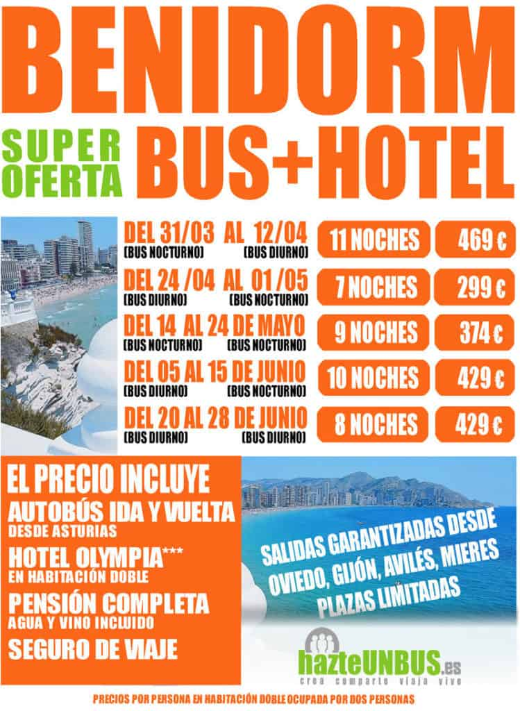Viajes Bus + Hotel Benidorm